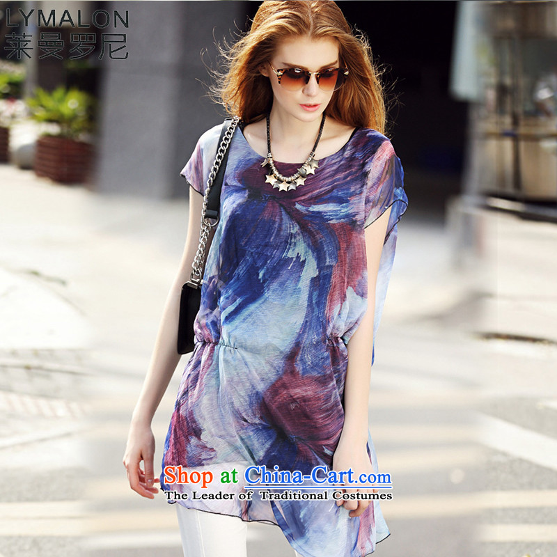 The lymalon Lehmann 2015 Summer new very casual dress code large impressionist round-neck collar short-sleeved T-shirt 7107 chiffon picture color�L