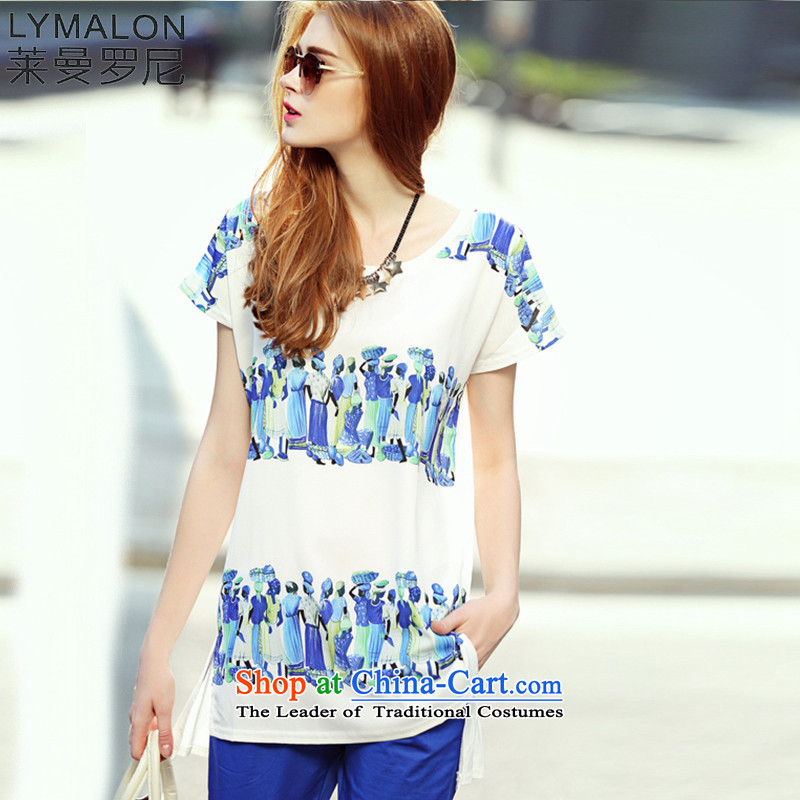 The lymalon Lehmann 2015 Summer New Western liberal women's large stamp round-neck collar short-sleeved T-shirt chiffon colored pictures 7108 features�L