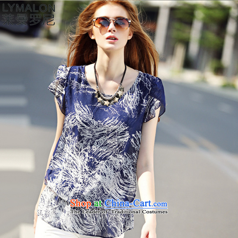 The lymalon Lehmann 2015 Summer Western New big retro stamp larger female loose round-neck collar chiffon Netherlands 7111 picture color燣