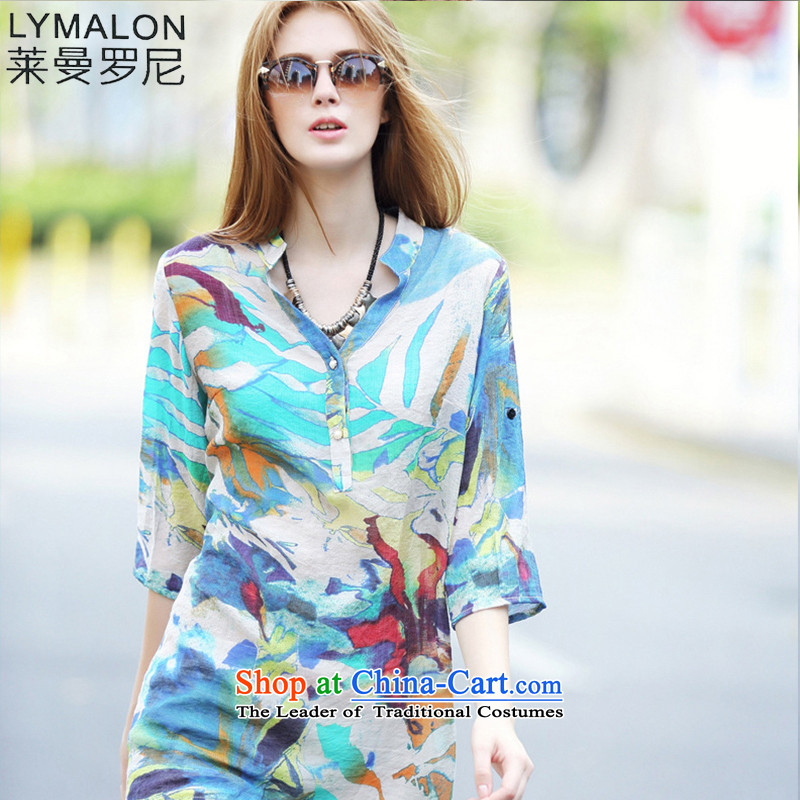 The lymalon lehmann thick, Hin thin 2015 summer the new Europe and the large number of ladies relaxd V-neck in large cuff shirt color photo 7110燲XL