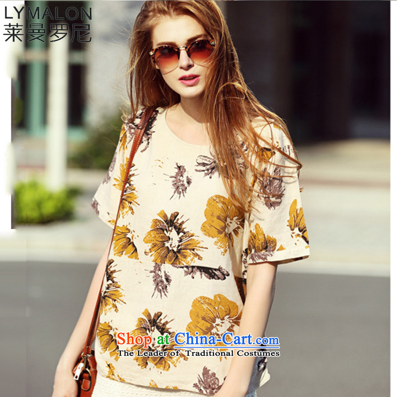 The lymalon Lehmann 2015 Summer Western New big retro stamp larger female cotton linen large relaxd 7112 color picture�L