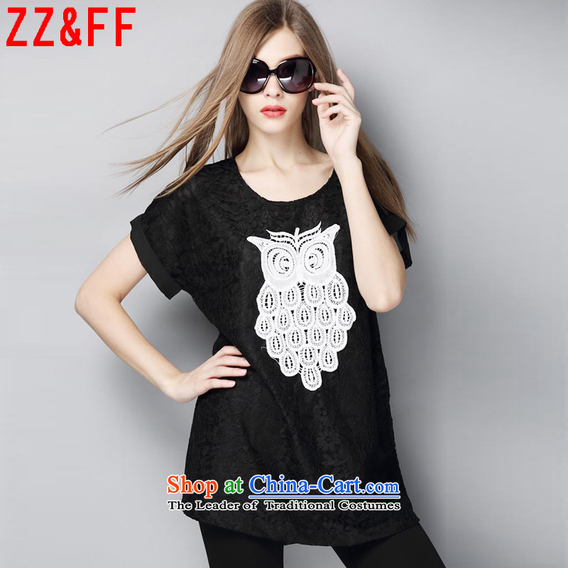 2015 Summer Zz_ff new larger female thick MM very casual shirt summer燚X9090 female燘lack燲L
