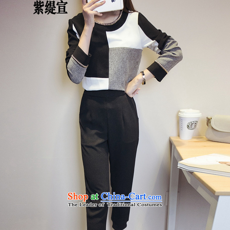 The first declared as thick mm to increase women's code thick mm spring and autumn the new two-piece kit Korean long-sleeved shirt, forming the T-shirt shirt + long pants�47_ 5XL around 922.747 180-200