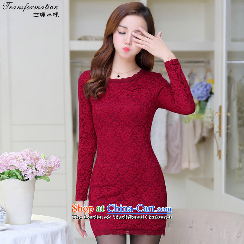 I think the   2015 339,600 empty autumn and winter new lace larger female plus lint-free Thick coated dresses   K218 wine red XL