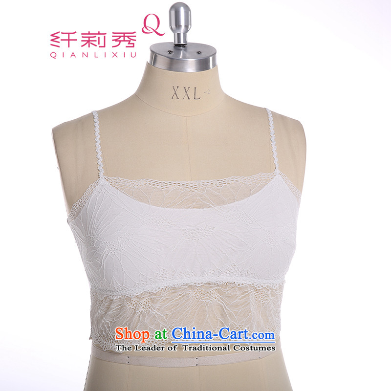 The former Yugoslavia Li Sau 2015 Summer new larger female lace shoulder the footsteps of Optical Wipe chest professional customized wrapped chest Q51683XL m White