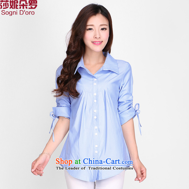 Shani Flower Lo 200 catties larger female shirt T-shirt female thick sister summer to intensify the shirt attire shirt, blue 2130�L