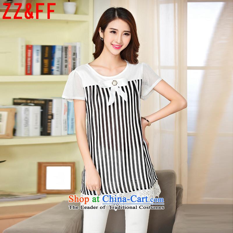 2015 Summer Zz_ff new mm Thick coated shirt loose video thin lace stitching chiffon shirt, longwhiteXXXL XFS6865