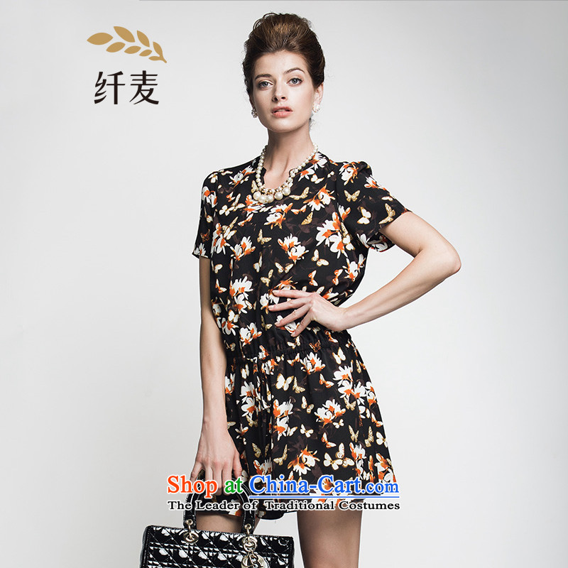 The former Yugoslavia Migdal Code women 2015 Summer new stylish mm thick flower stamp temperament skirt suits 6XL 952103174