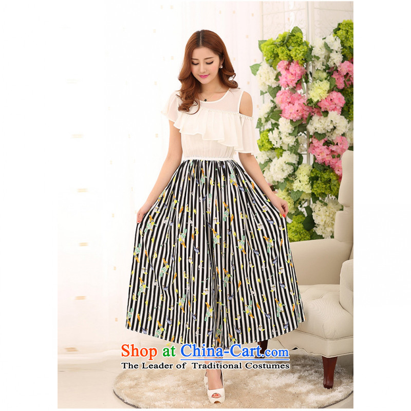 C.o.d. Package Mail 2015 Summer new stylish casual atmosphere thick mm extra female chiffon skirt long skirt summer new stamp WhiteM skirt