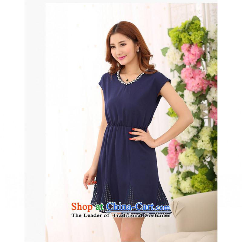 C.o.d. Package Mail 2015 Summer new stylish casual temperament large garment mm thick women's dresses short skirts chiffon nail Pearl Sau San new summer BlueM