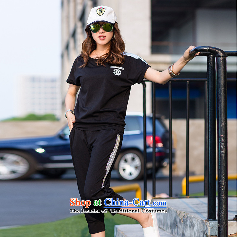 The Doi larger women's summer thick mm2015 new short-sleeved T-shirt sweater thick sister stylish leisure wears black uniformsL recommendations 90-110 catty