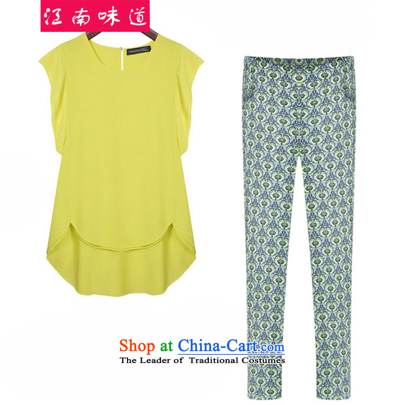 Gangnam-gu2015 spring_summer load taste new expertise of thick MM plus hypertrophy code women Western big loose video thin coat of Sau San 08 yellow T-shirt + 9 shorts kit R006_5357 XL recommendations 110-120