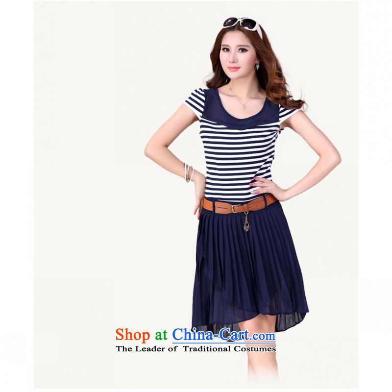 C.o.d. Package Mail 2015 Summer new stylish casual temperament classic Korean large Fat MM video thin knitting chiffon spell back to dress Lap-blue XL