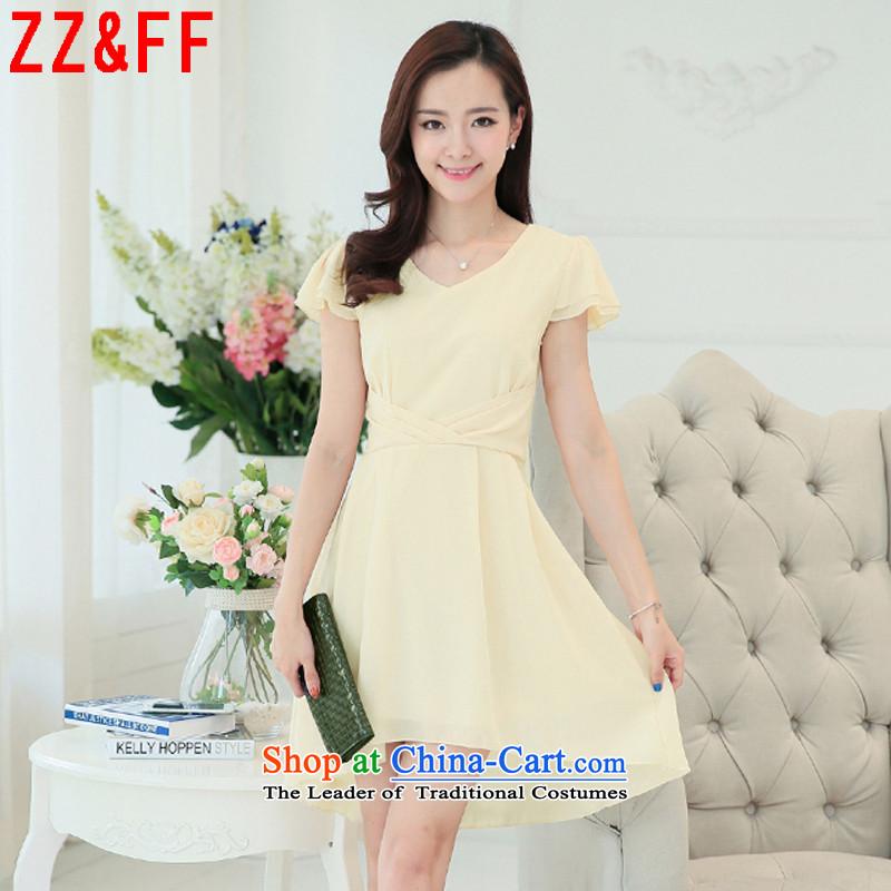 2015 Summer Zz_ff new larger female graphics thin Sau San dresses summer female temperament long skirt femaleLYQ948apricotXXL