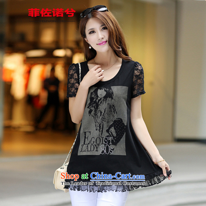 The officials of the fuseau larger female lace stitching short-sleeved T-shirt sister to thick cotton t-shirts xl leisure-black dollsL