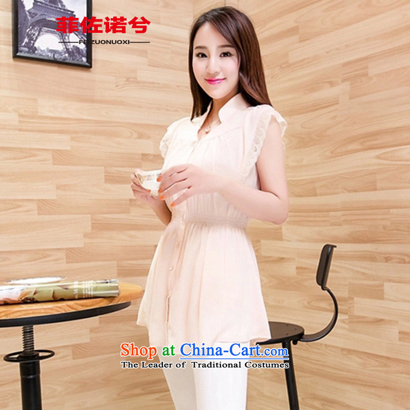 The officials of the fuseau larger female lace stitching short-sleeved to xl chiffon shirt thick sister foutune chiffon shirt apricotXL