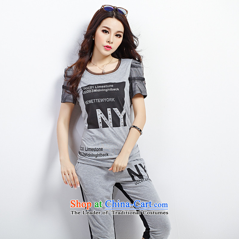 The Doi extra Women's Summer thick mm2015 new short-sleeved T-shirt thick sister video thin leisure wears the sportswear grayXL recommendations 110-130 catty
