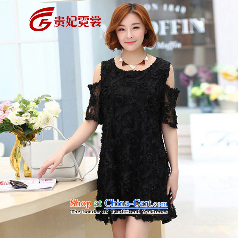 Tysan thick MM2015 Gwi-summer extra female Korean dresses xl rose blossoms silk covered shoulders temperament video thin dresses 1657 Black3XLrecommendations 175-200 catty