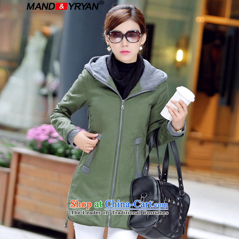 Mantile en code women in cotton long Korean jacket thick MM Foutune of video with cap cotton coat thin robe army green _MDR09821 XXXL135-145 around 922.747