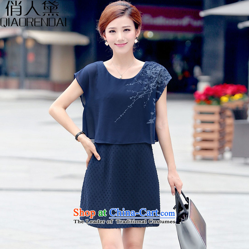For People Doi chiffon dresses female Korean version of the new 2015 fashion in the Sau San long stamp short-sleeved dresses Tibetan blueXXL
