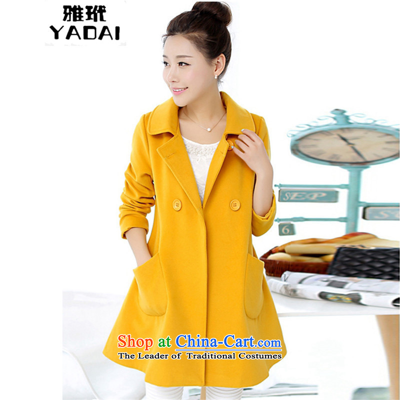 Ya 2015 version won served long lapel a large number of women 7602 Yellow�  XXXXL Jacket