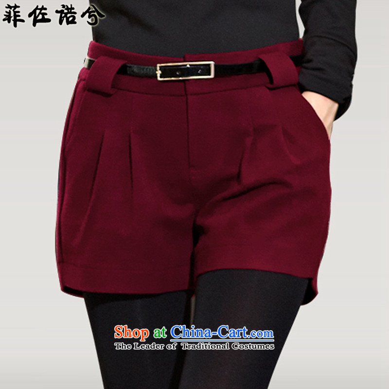 The officials of the fuseau larger ladies pants 2015 autumn and winter thick hair? Boot trousers thick mm to xl short female wine redXXXL 145-165 catty