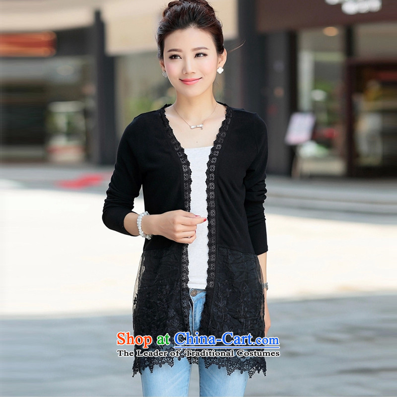 Yoon Elizabeth Odio Benito spring and summer load new graphics thin knitwear cardigan medium to long term, lace shirt light jacket summer gauze small female larger expertise shawl MM black4XL recommendations about 170-180