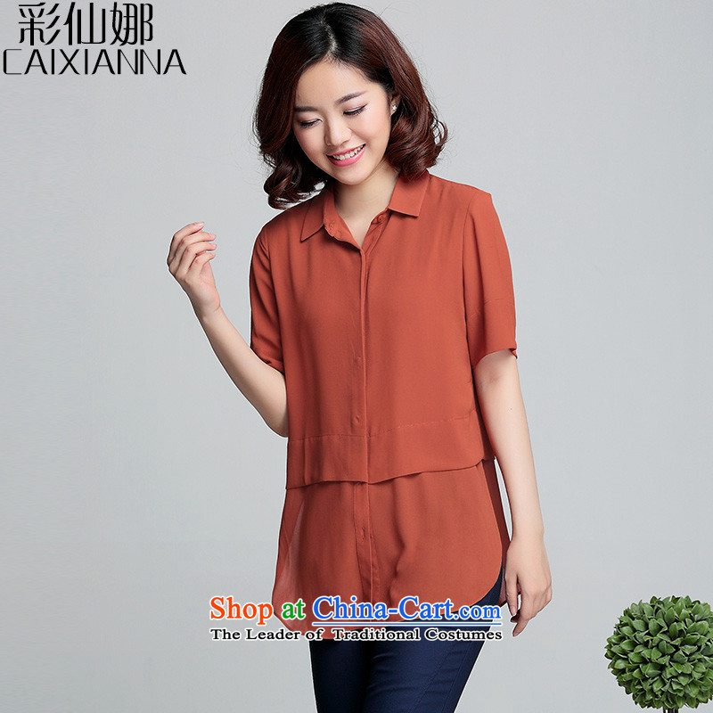 Also the?2015 Summer sin new thick MM loose short-sleeved shirt women chiffon larger female summer?3XL(140-155) orange