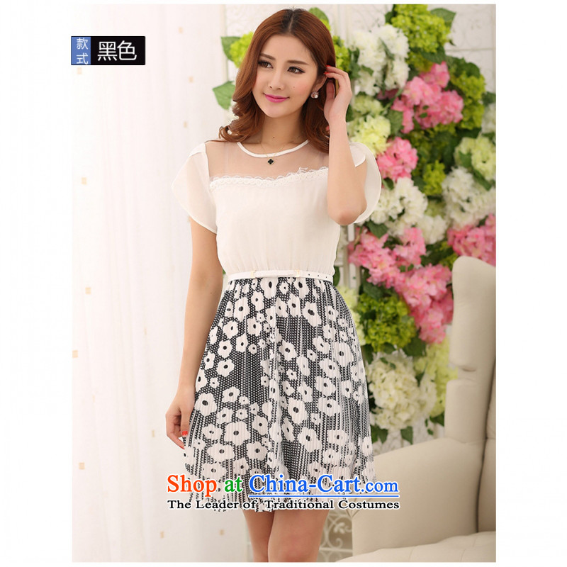 C.o.d. Package Mail 2015 smart casual temperament Korean thick mm thin large graphics female new Summer Snow woven dresses pressure folds stitching Korean black燲XL