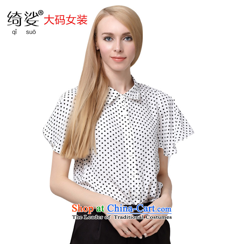 As provided for in the summer 2015 New Product Code women Sweet Dot Korean version of Lotus large thin sleeved shirt 2,776white short-sleeved3XL