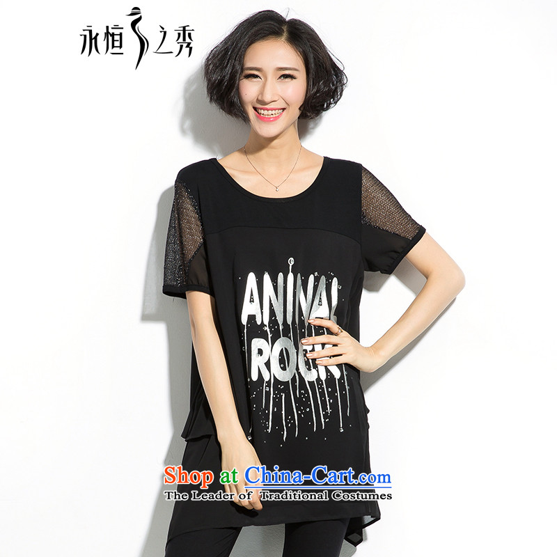 The eternal summer 2015, Sau thick mm new larger female ironing letters in thin graphics loose stamp long black T-shirt�L