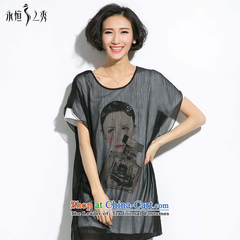 The eternal summer 2015, Sau thick mm new large stylish women's beauty ironing drill tile leave two T-shirts�L black