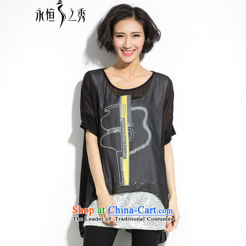 The eternal summer 2015, Sau thick mm new larger female ironing drill pearl chiffon stamp leave two T-shirts聽3XL black