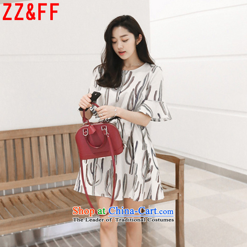 2015 Summer Zz&ff new larger female short-sleeved chiffon Sau San female dresses cactus stamp round-neck collar LYQ6087  XXXXL White