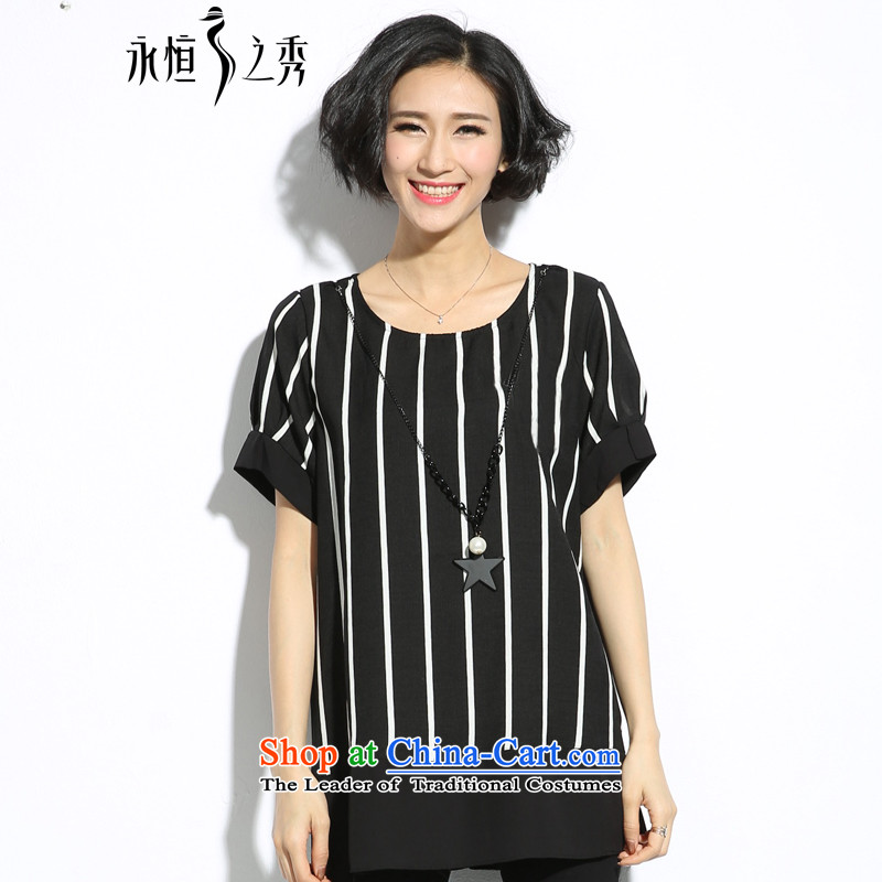 The eternal summer 2015, Sau thick mm new larger female cartoon images in black and white striped T-shirt thin graphics relaxd black and white streaks color�L