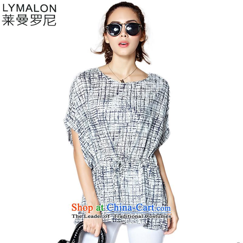The lymalon Lehmann 2015 Summer Western New big retro round-neck collar larger female saika stamp chiffon shirt 66010 color picture�L