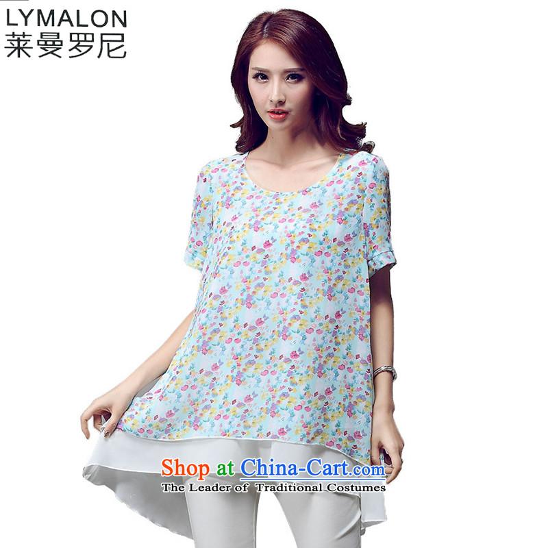 The lymalon lehmann thick, Hin thin 2015 Summer new larger female Korean version plus elegant fertilizer snow knocked color T-shirt woven 5018 green燣