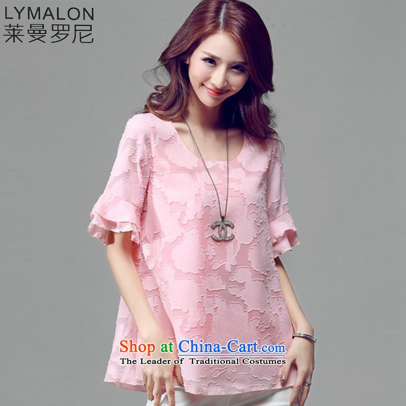 The lymalon lehmann thick, Hin thin 2015 Summer new larger female Korean to intensify temperament chiffon T-shirt燭5021爌ink�L