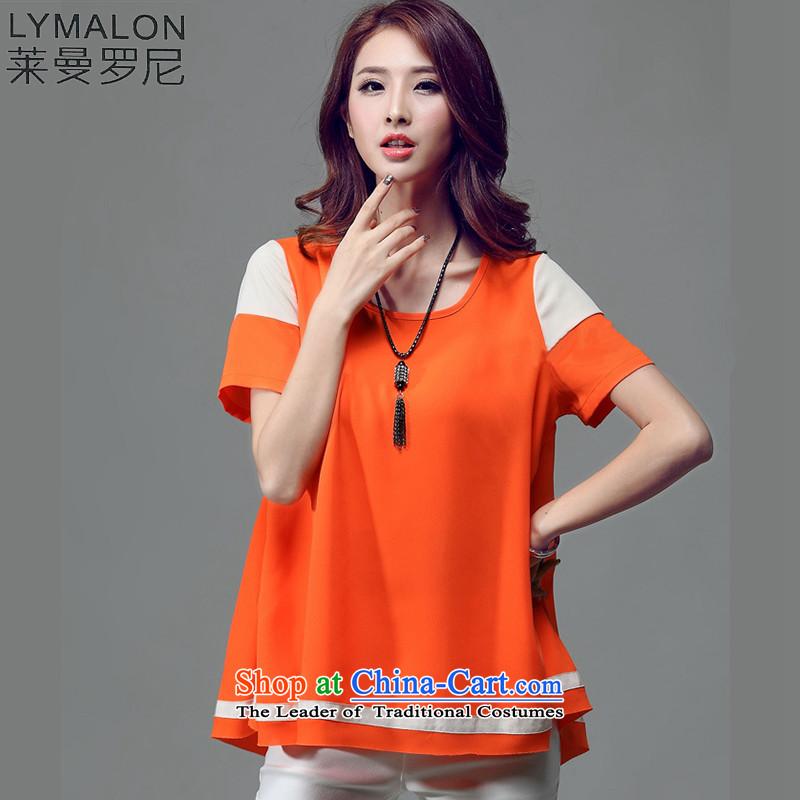 The lymalon lehmann thick, Hin thin 2015 Summer new ultra high-end larger female 4xl chiffon short-sleeved T-shirt T5023 orange燲L