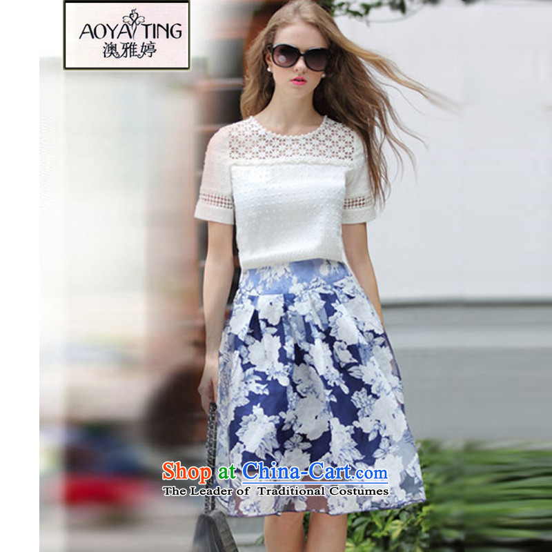 O Ya-ting 2015 new to xl female summer thick mm video thin lace T-shirt + upper body skirt kit white two kits 175-200 5XL recommends that you Jin