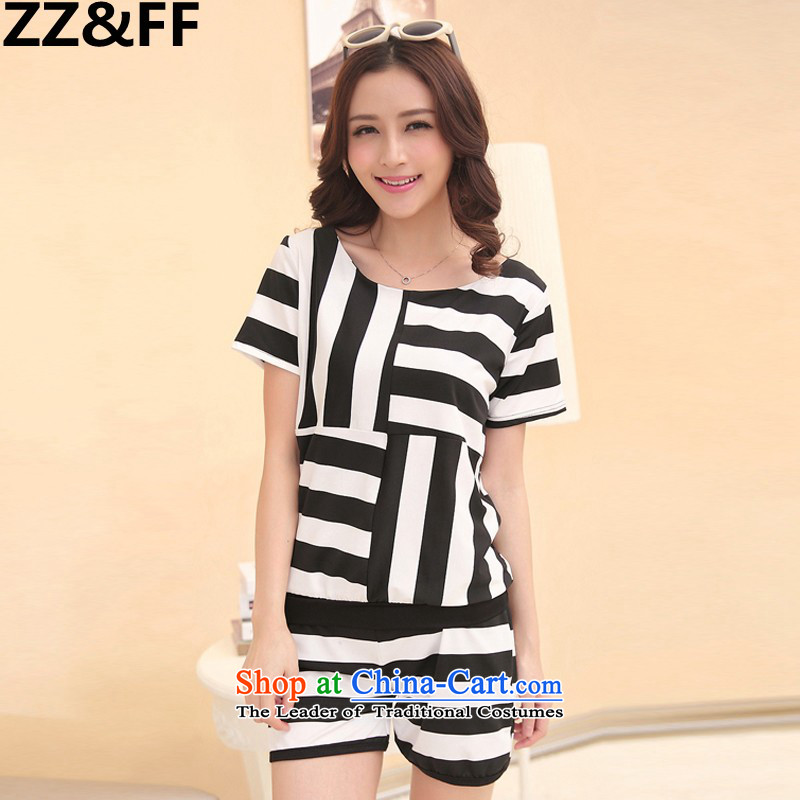 The new summer 2015 Zz_ff Korean large MM thick female graphics thin shorts, short-sleeved T-shirt two-piece set with female Summer聽8843聽picture color聽XXXXL