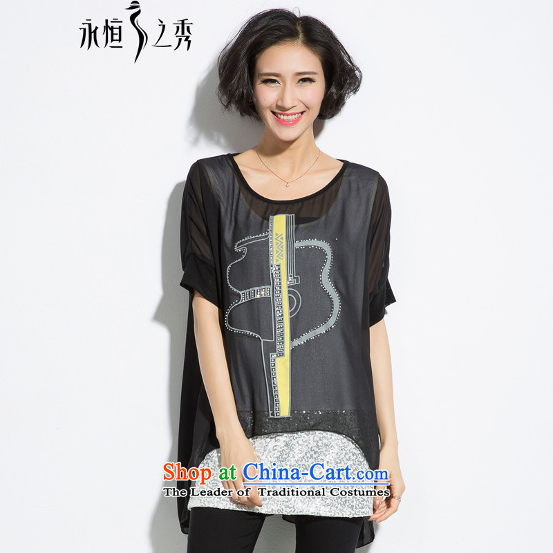 The eternal summer 2015 Sau new product expertise for larger mm female ironing drill pearl chiffon stamp leave two T-shirts black�L