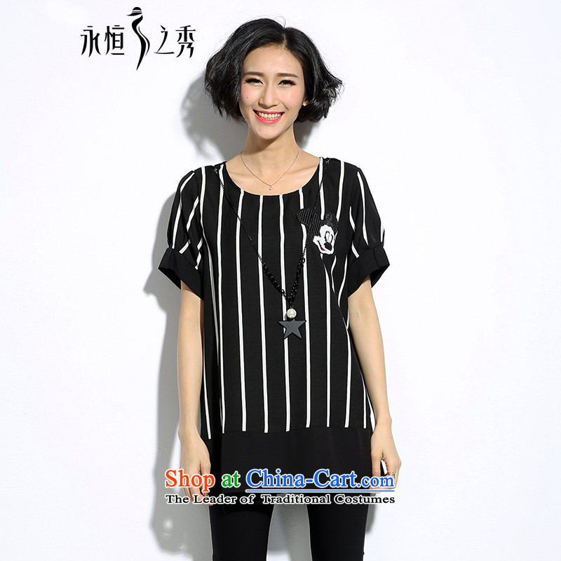 The Eternal Soo-to increase female Korean version of code t-shirt thick mm summer new product expertise, Hin thick sister new thin black and white streaks cartoon loose video thin short-sleeved T-shirt black�L