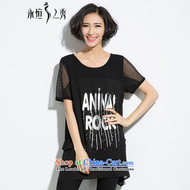 The Eternal-soo to xl t-shirts thick mm2015 summer new product expertise, Hin thick sister in thin long Korean ironing letters T-shirt loose stamp�L black