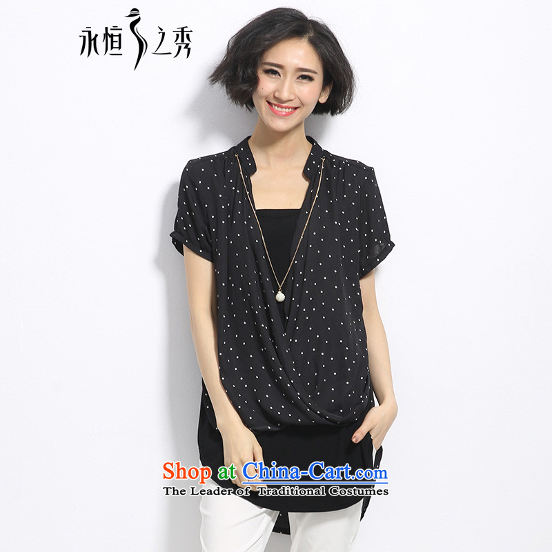 The Eternal Soo-to increase women's code shirt thick mm summer new products, Hin thin, thick Korean small loose collar wave in long leave two thin black shirt 3XL graphics