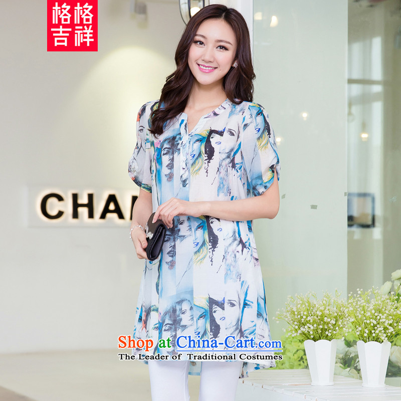 Princess Returning Pearl 2015 New Korea auspicious Edition to increase women's code for summer short-sleeved T-shirt V-Neck thick mm loose stamp in the video thin Leisure Long shirt picture color 2XL