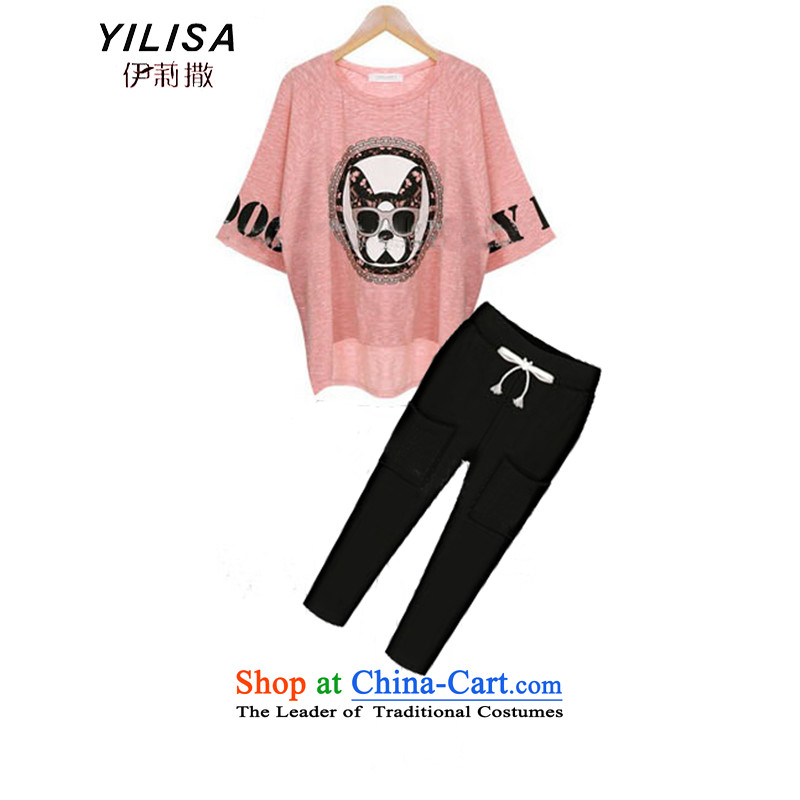 Ms. King sub-code female new summer t-shirt kit fat mm to intensify the loose video thin bat sleeves cartoon dog stamp t-shirt + 7 pants kit pink + and black trousers燲L recommended weight 100-125 catty