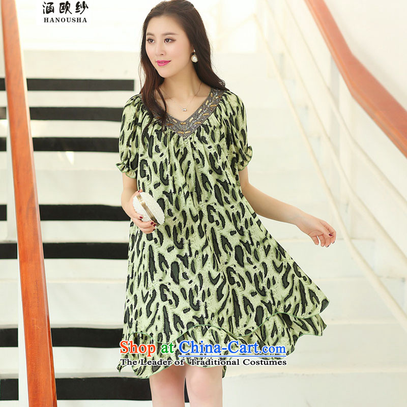The OSCE yarn thick mm covered by summer 2015, the maximum number of ladies thick sister dresses to intensify the loose video in thin long 200 catties green leopardXL recommendations usually it will seriously