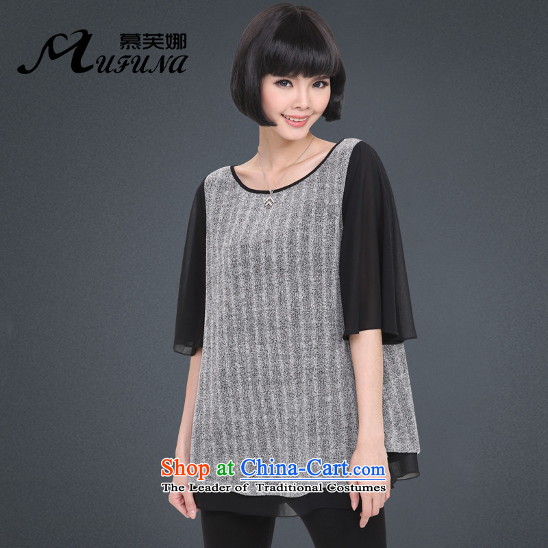 The Korean version of improving access to increase women's code 2015 Summer new stylish mm thick stitching forming the bat sleeves shirt loose video thin燽lack燲XXXXL 1323 T-Shirt