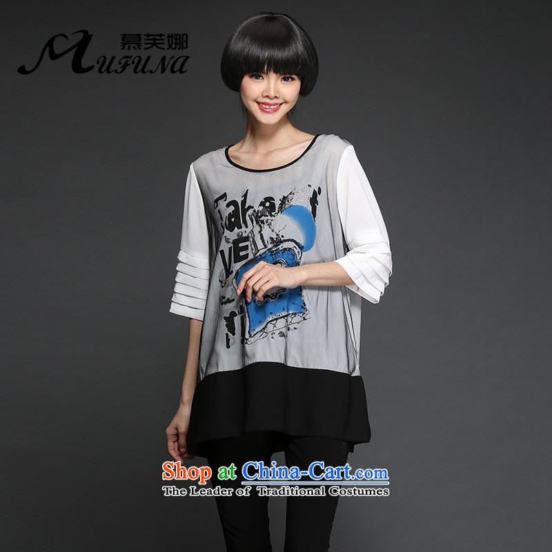 Improving access of 2015 Summer Korean New to increase the number of women's centers and stylish stamp wrinkled chiffon shirt thick mm loose video thin爓hite燲XXXXL 1309 T-Shirt
